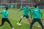 17.01.2020, Trainingsgelaende am wohninvest WESERSTADION,, Bremen, GER, 1.FBL, Werder Bremen Training ,<br /> <br /> <br />  im Bild<br /> <br /> Maximilian Eggestein (Werder Bremen #35)<br /> Marco Friedl (Werder Bremen #32)<br /> Ilia Gruev (Werder Bremen #28)<br /> <br /> Foto © nordphoto / Kokenge