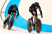 Picture by Alex Whitehead/SWpix.com - 10/12/2017 - Cycling - UCI Track Cycling World Cup Santiago - Velódromo de Peñalolén, Santiago, Chile - New Zealand's Emma Cumming and Natasha Hansen compete in the Women's Team Sprint qualifying.