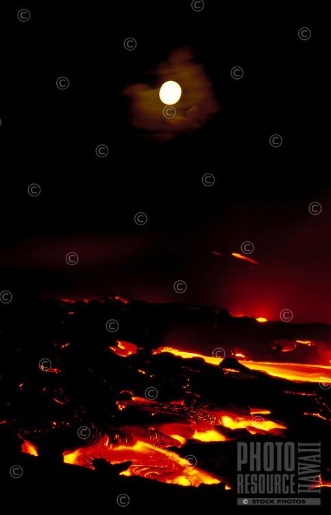 Lava flow at Kamoamoa with moonrise, Big Island