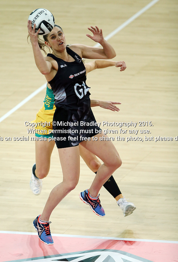 15.10.2016 Silver Ferns Te Paea Selby-Rickit in action during the Silver Ferns v Australia netball test match played at Vector Arena in Auckland. Mandatory Photo Credit ©Michael Bradley.
