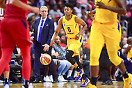 Washington, DC - August 17, 2018: Los Angeles Sparks guard Alana Beard (0) brings the ball up court during game between the Washington Mystics and Los Angeles Sparks at the Capital One Arena in Washington, DC. (Photo by Phil Peters/Media Images International)