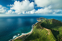 An aerial view of Sandy Beach and Koko Crater, with Hanauma Bay in the distance, East O'ahu.