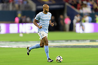 Houston, TX - Thursday July 20, 2017: Manchester City player warming up during a match between Manchester United and Manchester City in the 2017 International Champions Cup at NRG Stadium.