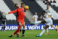 Kieran O'Hara of Macclesfield Town denies Kieran Agard of MK Dons during MK Dons vs Macclesfield Town, Sky Bet EFL League 2 Football at stadium:mk on 17th November 2018
