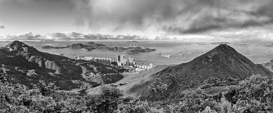 A six-image panorama taken early morning from the Peak, looking South through the Pok Fu Lam valley and over Lamma.