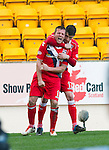 St Johnstone v Ross County.....21.04.13      SPL.Richie Brittain celebrates his second penalty with Rocco Quinn.Picture by Graeme Hart..Copyright Perthshire Picture Agency.Tel: 01738 623350  Mobile: 07990 594431