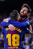 7th January 2018, Camp Nou, Barcelona, Spain; La Liga football, Barcelona versus Levante; Leo Messi of FC Barcelona celebrates his goal for 1-0 with Jordi Alba of FC Barcelona