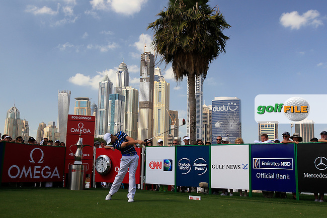 Tommy Fleetwood (ENG) tees off the 1st tee to start his match during Sunday's Final Round of the 2013 Omega Dubai Desert Classic held at the Emirates Golf Club, Dubai, 3rd February 2013..Photo Eoin Clarke/www.golffile.ie