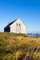 Boat house and Chatham harbor, Cape Cod, MA