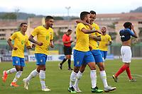 Brazil players congratulate Matheus Henrique after scoring their second goal during France Under-18 vs Brazil Under-20, Tournoi Maurice Revello Football at Stade d'Honneur Marcel Roustan on 5th June 2019