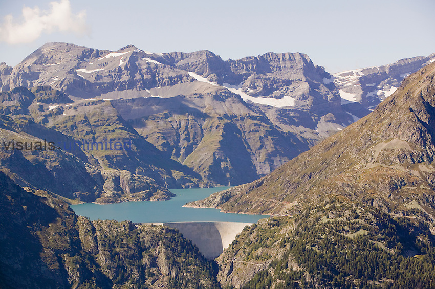 Lake Emerson and dam on the French Swiss border to generate hydroelectric power