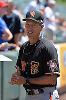 Fresno Grizzlies manager Bob Mariano (19) prior to the game against the Salt Lake Bees at Smith's Ballpark on May 26, 2014 in Salt Lake City, Utah.  (Stephen Smith/Four Seam Images)