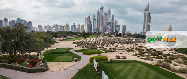 8th tee grandstand view ahead of the 2016 Omega Dubai Desert Classic played at the Emirates Golf Club, Dubai, United Arab Emirates.  30/01/2016. Picture: Golffile | David Lloyd<br /> <br /> All photos usage must carry mandatory copyright credit (&copy; Golffile | David Lloyd)