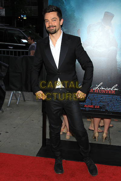 """Dominic Cooper.The Premiere of """"Abraham Lincoln: Vampire Hunter"""" at the AMC Loews Lincoln Square Cinemas, New York, NY., USA..June 18th, 2012.full length black suit white shirt beard facial hair .CAP/LNC/TOM.©LNC/Capital Pictures."""