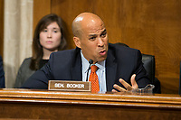 United States Senator Cory Booker (Democrat of New Jersey), asks Kathleen Hartnett White a question during her confirmation hearing to be a Member of the Council on Environmental Quality before the United States Senate Committee on the Environment and Public Works on Capitol Hill in Washington, D.C. on November 8th, 2017. Credit: Alex Edelman / CNP /MediaPunch