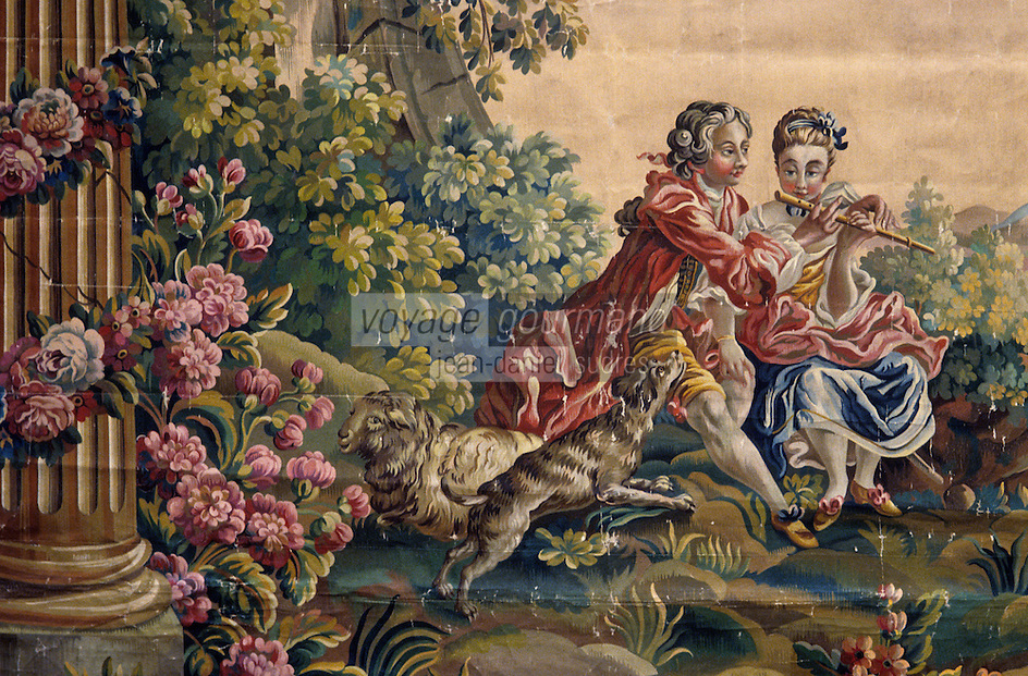 Europe/France/Limousin/23/Creuse/Aubusson: Le musée de la Tapisserie - La leçon de musique XIXème - Carton de tapisserie