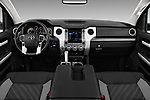Stock photo of straight dashboard view of a 2019 Toyota Tundra SR5 5.7L Crew Max 4WD Short Bed 4 Door Pick Up