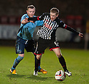 Pars' Andrew Geggan tries to get away from Forfar's Mark Baxter.