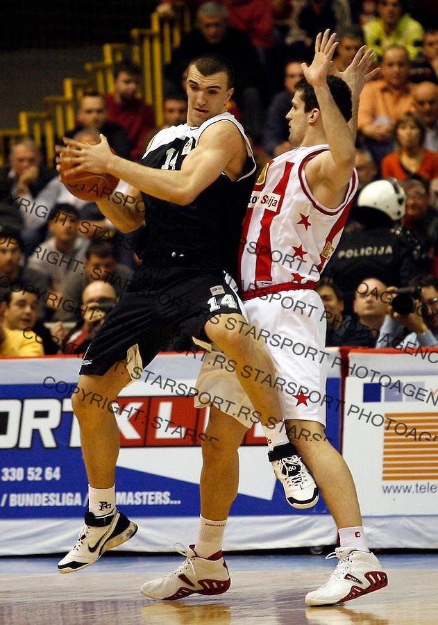 Kosarka, NLB Liga, season 2006/07Crvena Zvezda Vs. PartizanNikola Pekovic, left, and Petar PopovicBeograd, 04.02.2007.FOTO: Srdjan Stevanovic