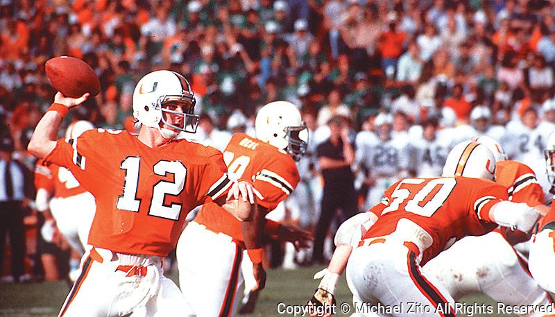 University of Miami Quarterback Jim Kelly #12 Drops back to pass