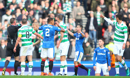 23.10.2016. Hampden Park, Glasgow, Scotland. Betfred Cup Semi Final Football. Rangers versus Celtic. Barrie McKay is booked after going down  in the box