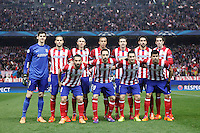 Atletico de Madrid´s initial team players during 16th Champions League soccer match at Vicente Calderon stadium in Madrid, Spain. January 06, 2014. (ALTERPHOTOS/Victor Blanco)