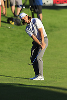 Tommy Fleetwood (ENG) chips onto the 18th green during Thursday's Round 1 of the 2018 Turkish Airlines Open hosted by Regnum Carya Golf &amp; Spa Resort, Antalya, Turkey. 1st November 2018.<br /> Picture: Eoin Clarke | Golffile<br /> <br /> <br /> All photos usage must carry mandatory copyright credit (&copy; Golffile | Eoin Clarke)