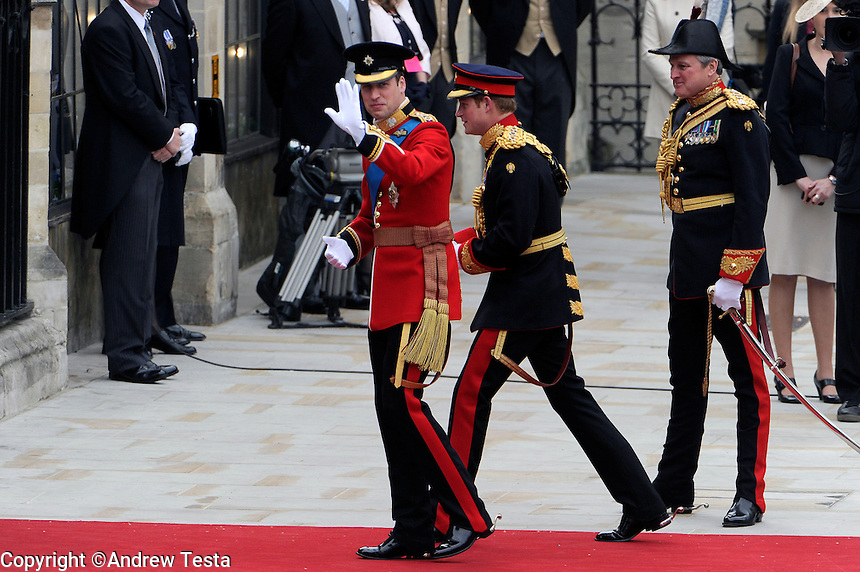 UK. London. 29th April 2011..Prince William and Harry arrive at the Abbey..©Andrew Testa for the New York Times..