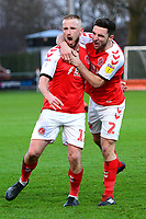 Fleetwood Town's Paddy Madden celebrates scoring his side's first goal with Lewis Coyle<br /> <br /> Photographer Richard Martin-Roberts/CameraSport<br /> <br /> The EFL Sky Bet League One - Fleetwood Town v Portsmouth - Saturday 29th December 2018 - Highbury Stadium - Fleetwood<br /> <br /> World Copyright &not;&copy; 2018 CameraSport. All rights reserved. 43 Linden Ave. Countesthorpe. Leicester. England. LE8 5PG - Tel: +44 (0) 116 277 4147 - admin@camerasport.com - www.camerasport.com