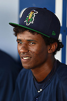Cedar Rapids Kernels third baseman Jonatan Hinojosa (16) in the dugout before a game against the Quad Cities River Bandits on August 18, 2014 at Perfect Game Field at Veterans Memorial Stadium in Cedar Rapids, Iowa.  Cedar Rapids defeated Quad Cities 4-2.  (Mike Janes/Four Seam Images)