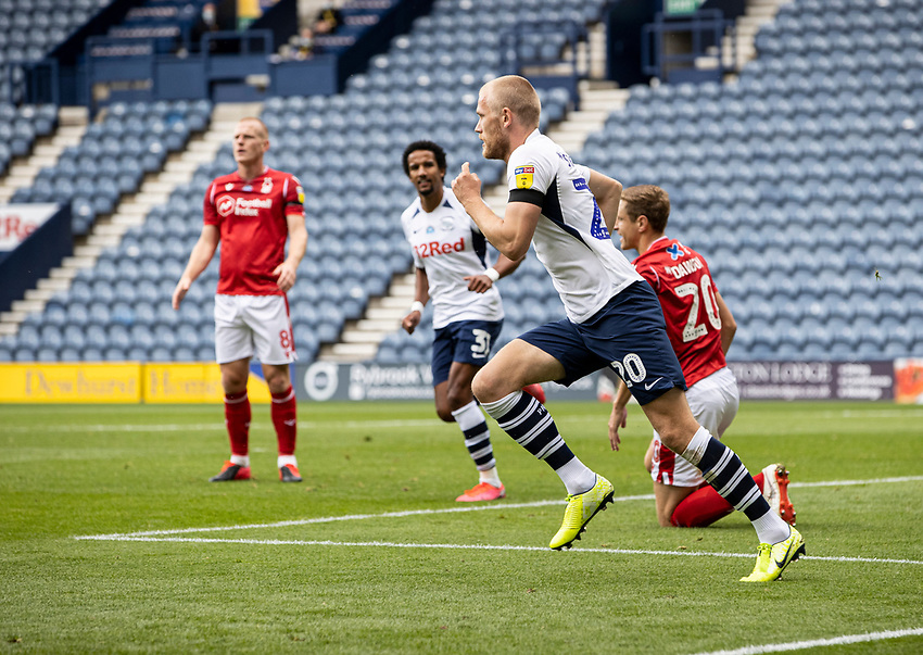 Preston North End's Jayden Stockley celebrates scoring his side's first goal <br /> <br /> Photographer Andrew Kearns/CameraSport<br /> <br /> The EFL Sky Bet Championship - Preston North End v Nottingham Forest - Saturday 11th July 2020 - Deepdale Stadium - Preston <br /> <br /> World Copyright © 2020 CameraSport. All rights reserved. 43 Linden Ave. Countesthorpe. Leicester. England. LE8 5PG - Tel: +44 (0) 116 277 4147 - admin@camerasport.com - www.camerasport.com