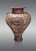 Three handled Palace Style pictoral Mycenaean amphora with aquatic bird motifs, Mycenaean cemetery, Argive Deiras, 15 cnt BC, National Archaeological Museum Athens. Cat no 5650.  Grey Background<br /> <br /> This Mycenaean vase is one of the first examples of Mycenaean pictoral pottery created from Minoan influences.