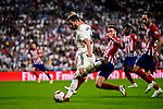 Nacho Fernandez of Real Madrid (L) looks to bring the ball down during their La Liga  2018-19 match between Real Madrid CF and Atletico de Madrid at Santiago Bernabeu on September 29 2018 in Madrid, Spain. Photo by Diego Souto / Power Sport Images