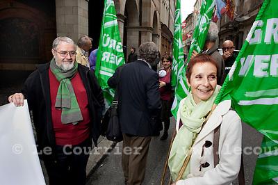 Genève, le 30.09.2010.Manifestation anti-nucléaire devant l'hôtel de ville.