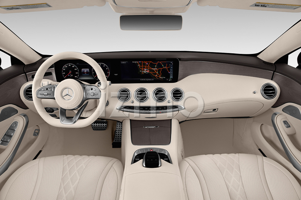 Stock photo of straight dashboard view of a 2019 Mercedes Benz S-Class S560 2 Door Coupe