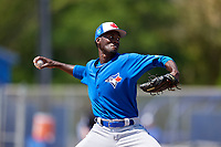 Toronto Blue Jays pitcher Devin Malone (73) during a Minor League Spring Training game against the New York Yankees on March 18, 2018 at Englebert Complex in Dunedin, Florida.  (Mike Janes/Four Seam Images)