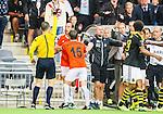 Stockholm 2015-07-16 Fotboll Kval Uefa Europa League  AIK - FC Shirak :  <br /> FC Shiraks Gevorg Hovhannisyan f&aring;r ett r&ouml;tt kort av domare Vladimir Vnuk (SVK) medan chefstr&auml;nare tr&auml;nare Andreas Alm och assisterande tr&auml;nare Nebojsa Novakovic reagerar bredvid under matchen mellan AIK och FC Shirak <br /> (Foto: Kenta J&ouml;nsson) Nyckelord:  AIK Gnaget Tele2 Arena UEFA Europa League Kval Kvalmatch FC Shirak Armenien Armenia utvisning r&ouml;tt kort arg f&ouml;rbannad ilsk ilsken sur tjurig angry