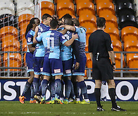 Wycombe players celebrate Anthony Stewart's equaliser<br /> <br /> Photographer Alex Dodd/CameraSport<br /> <br /> Checkatrade Trophy Round 3 Blackpool v Wycombe Wanderers - Tuesday 10th January 2017 - Bloomfield Road - Blackpool<br />  <br /> World Copyright &copy; 2017 CameraSport. All rights reserved. 43 Linden Ave. Countesthorpe. Leicester. England. LE8 5PG - Tel: +44 (0) 116 277 4147 - admin@camerasport.com - www.camerasport.com