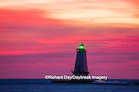 64795-01011 Ludington North Pierhead Lighthouse at sunset on Lake Michigan, Mason County, Ludington, MI