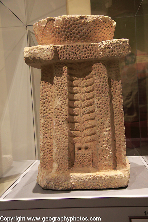 Carved patterned altar stone design, National Museum of Archaeology, Valletta, Malta from Hagar Kim temple
