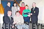 PRESENTATION: At a presentation of cheques to three charities, Make A Wish Foundation, Tralee To-Gether Special Olympics and Tralee Wheelchair Association, on Saturday night at Ballyroe Heights Hotel, Tralee. Front l-r: David Doyle (Captain Old Reserve Golf Club) and Terry O'Brien (Tralee Wheelchair Association). Back l-r: Mark and Gina Greer and Paddy Moriarty (Make A Wish Foundation), Mary Quillinan (Tralee To-Gether) and Donal O'Mahony (President Old Reserve Golf Club)..