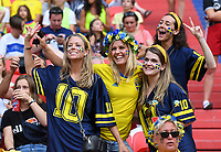 20190703 - LYON , FRANCE : Swedish fans and supporters pictured during the female soccer game between Netherlands – Oranje Leeuwinnen - and Sweden  , a knock out game in the semi finals of the FIFA Women's  World Championship in France 2019, Wednesday 3 th July 2019 at the Stade de Lyon  Stadium in Lyon  , France .  PHOTO SPORTPIX.BE | DAVID CATRY