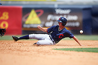 Justin Bullock (26) of South Granville High School in Creedmoor, North Carolina playing for the Cleveland Indians scout team during the East Coast Pro Showcase on August 3, 2016 at George M. Steinbrenner Field in Tampa, Florida.  (Mike Janes/Four Seam Images)