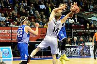 GRONINGEN - Basketbal, Donar - Landstede Zwolle, Martiniplaza,  Dutch Basketball League, seizoen 2017-2018, 12-11-2017,  Donar speler Thomas Koenes in duel met Landstede speler Franko House