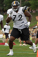Jonathan Scott, Pittsburgh Steelers offensive tackle. Training camp, August 11, 2011 at Latrobe, Pennsylvania.