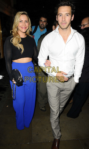 Heidi Range &amp; guest<br /> The &quot;The Commitments&quot; press night, Palace Theatre, Shaftesbury Avenue, London, England.<br /> October 8th, 2013<br /> full length black top cropped sheer blue trousers white shirt grey gray trousers <br /> CAP/CAN<br /> &copy;Can Nguyen/Capital Pictures