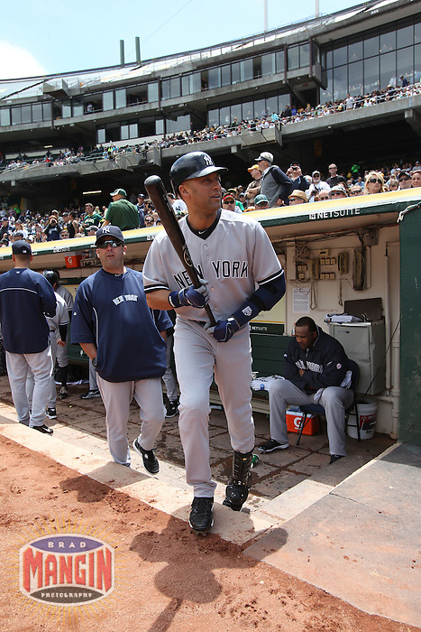 OAKLAND, CA - MAY 26:  Derek Jeter #2 of the New York Yankees walks out of the dugout before the game against the Oakland Athletics at O.co Coliseum on Saturday May 26, 2012 in Oakland, California. Photo by Brad Mangin