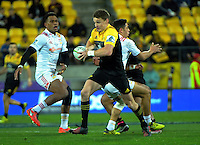 Beauden Barrett takes an intercept to run in the second try during the Super Rugby semifinal match between the Hurricanes and Chiefs at Westpac Stadium, Wellington, New Zealand on Saturday, 30 July 2016. Photo: Dave Lintott / lintottphoto.co.nz