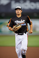 Aberdeen IronBirds center fielder Nick Horvath (44) jogs back to the dugout during a game against the Staten Island Yankees on August 23, 2018 at Leidos Field at Ripken Stadium in Aberdeen, Maryland.  Aberdeen defeated Staten Island 6-2.  (Mike Janes/Four Seam Images)