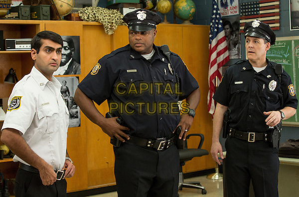 Fist Fight (2017)  <br /> KUMAIL NANJIANI as Mehar, MICHAEL BEASLEY as Officer Rodriguez and ROBERT PRALGO as Officer Kheel <br /> *Filmstill - Editorial Use Only*<br /> CAP/KFS<br /> Image supplied by Capital Pictures